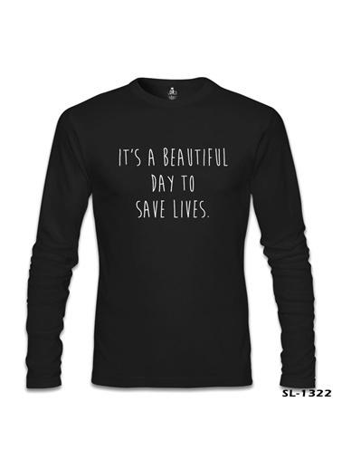Lord Tshirt Grey'S Anatomy - Save Lives Siyah Erkek Sweatshirt Siyah